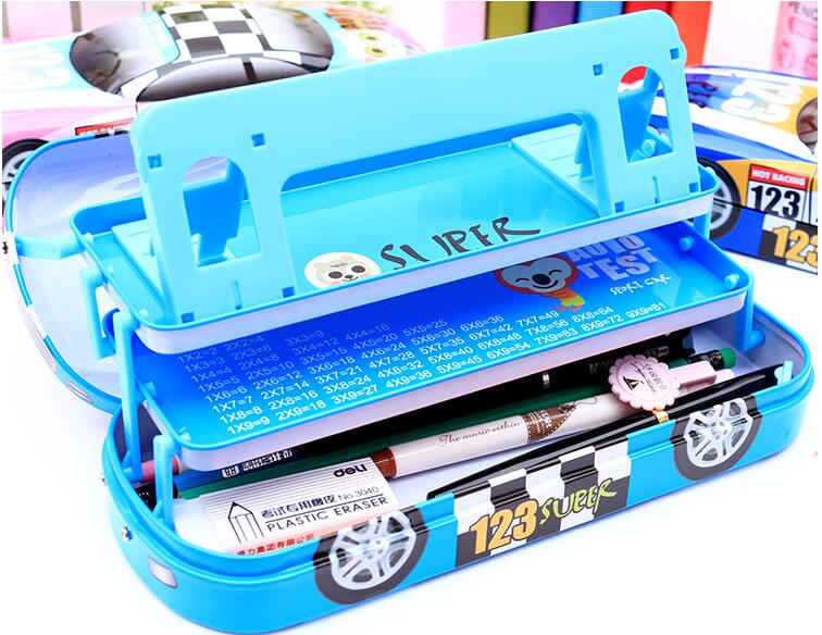 Car style three layers bookshelf metal iron pencil case multifunction pencil case escolar papelaria school penalty chancery etui