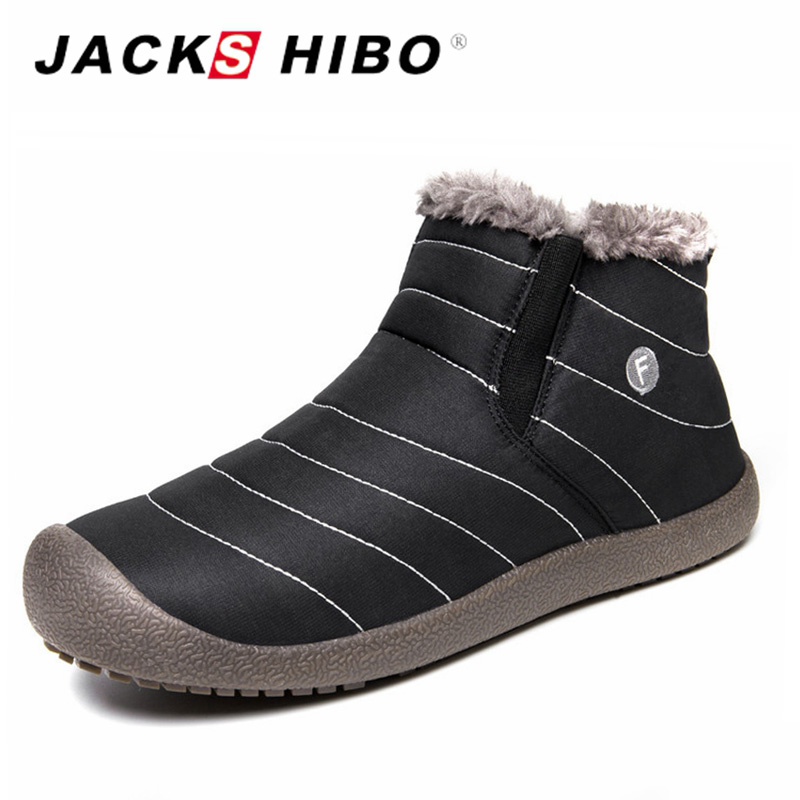 JACKSHIBO Winter Boots Men Ankle Snow Boots Men Big Size Warm Plush Lining Boots Shoes Slip on Add Fur Shoes Winter Footwear