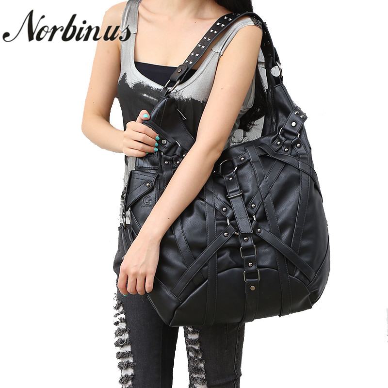 Norbinus Steampunk Women Handbag Gothic Retro Rock PU Leather Shoulder Messenger Bags Day Pack Female Designers Large Tote Bag ferrino o hare day pack