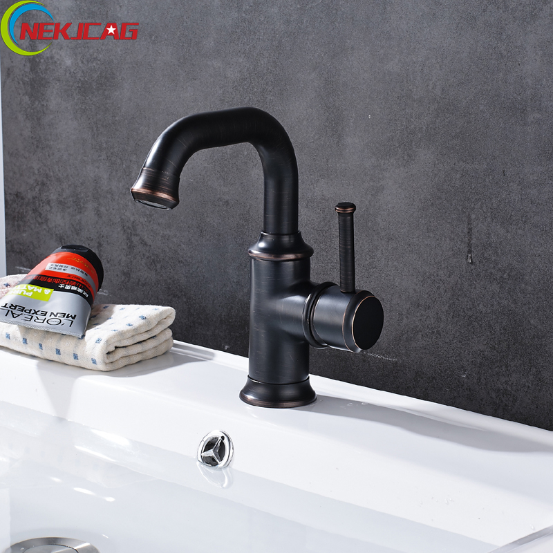 Wholesale And Retail ORB Bath Faucet Single Handle One Hole Basin Sink Mixer Tap Hot and Cold Free Shipping micoe hot and cold water basin faucet mixer single handle single hole modern style chrome tap square multi function m hc203