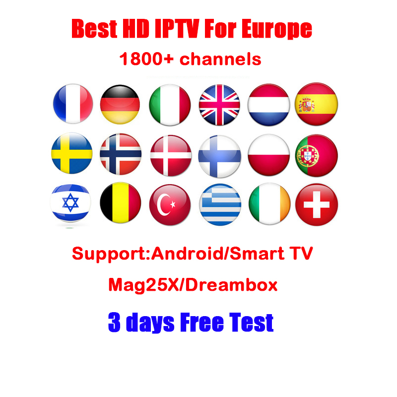 IPTV subscription 1800+ Europe Sweden Arabic French portugal Spain Germany UK Channels for Android TV Box /M3U/Enigma2/Mag25X