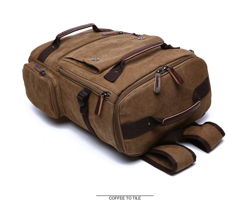7 Canvas Backpack 15.6'' Laptop Backpacks Men Bagpack Wearproof School Bag for Teenage Male Knapsack Travel Bags Fashion Rucksack
