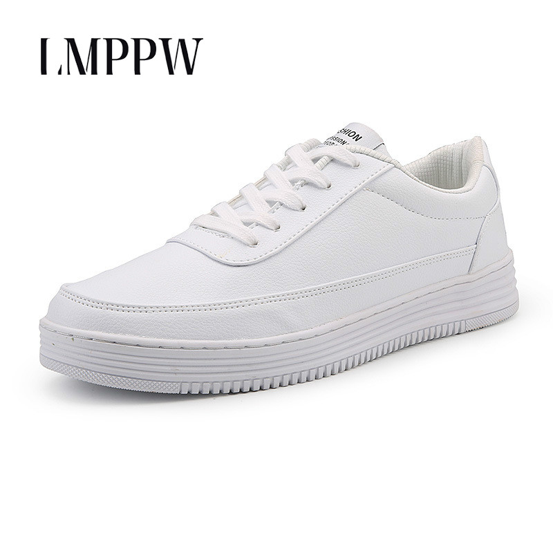 Fashion Popular Men Shoes Casual Pu Leather Shoes Breathable Lace-Up Men Sneakers Black White Men Outdoor Board Shoes Big Size 8