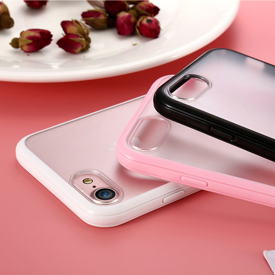 MR.YI Candy Color Frame Phone Case For iPhone 7 For iPhone 7 Plus Colorful Matte Clear Transparent Cover Case For iPhone 7 Plus (4)
