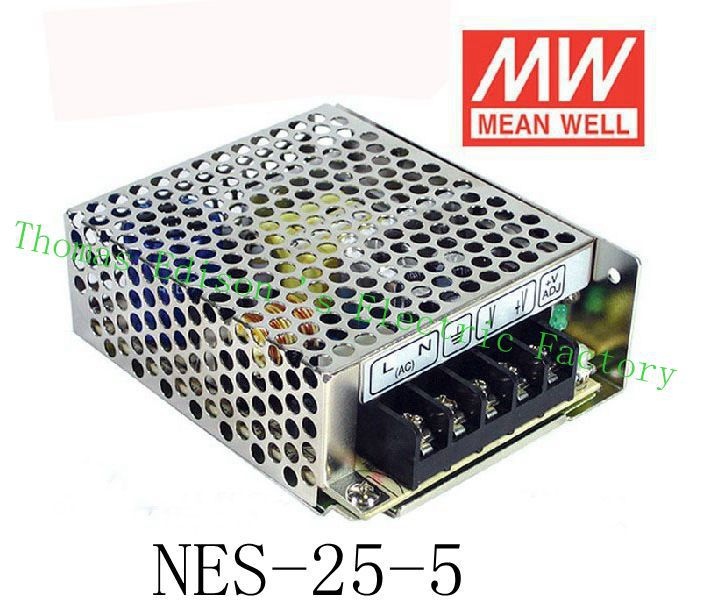Original MEAN WELL power suply unit ac to dc power supply NES-25-5 25W 5V 5A MEANWELL meanwell 12v 75w ul certificated nes series switching power supply 85 264v ac to 12v dc