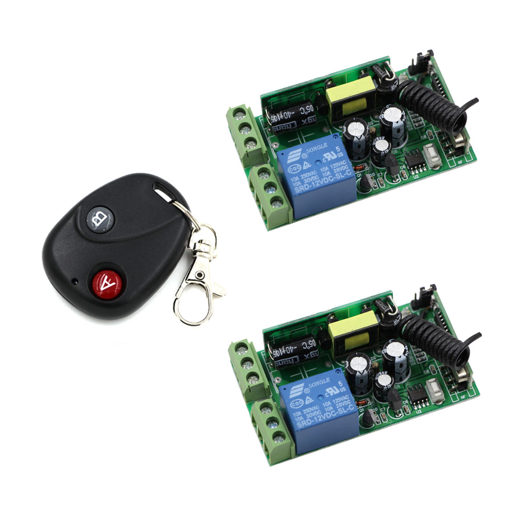 Free Shipping AC 85V 110V 120V 220V 250V 1CH Wireless Remote Control Switch System 2*Receivers & Transmitter 315/433Mhz ON OFF 2 receivers 60 buzzers wireless restaurant buzzer caller table call calling button waiter pager system