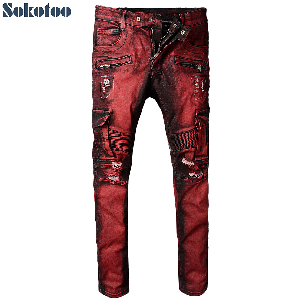 Sokotoo Men's red pocket cargo biker jeans for motorcycle Slim holes ripped distressed stretch denim pants free shipping 1pcs motorcycle biker distressed pants denim trousers protection pads