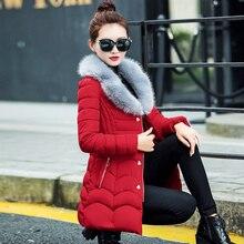 2016 новых зимнее пальто хлопка женщин в длинный абзац платье хлопка Тонкие волосы воротник воротник