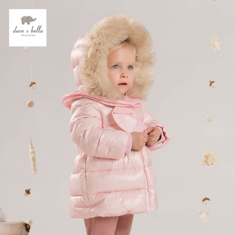 DB4247 dave bella baby girls padded clothing  hooded padded coat outerwear kids down jacket