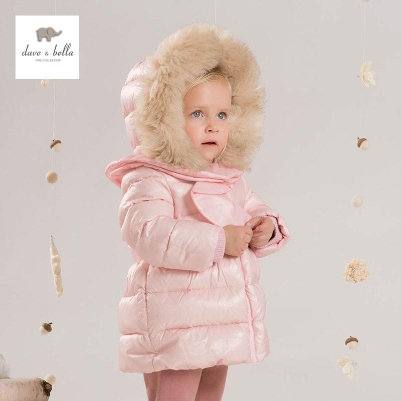 DB4247 dave bella bebê meninas roupa acolchoada com capuz casaco acolchoado outerwear jaqueta crianças para baixo
