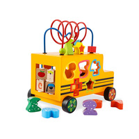 Educational Toy Sturdy Wooden Multifunctional Bus shape matching blocks around the bead car baby pull toys
