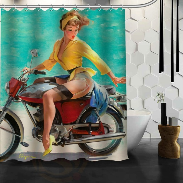 Motorcycle Pin Up Girls Custom Shower Curtain Bathroom Decor Free Shipping 48x72 60x72