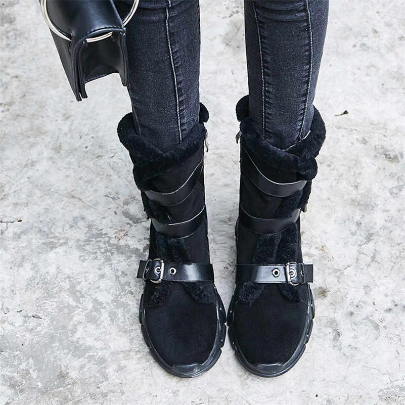 FEDONAS נשים שלג מגפי קלאסי עיצוב אבזמי חורף חם נעלי אישה עקבים גבוהים סיבוב קצר בסיסי מגפי אופנוע מגפיים