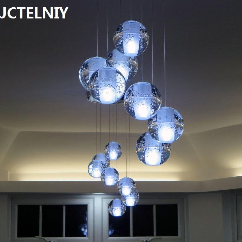 Glass crystal ball ceiling dual stair hybrid-type lobby pendant light