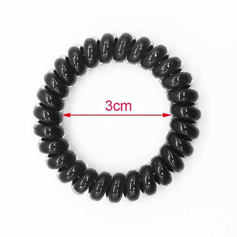 (6 Cái) tóc Cao Cấp Scrunchie Dây Điện Thoại Thun Hairbands Nhựa Vòng Tay Cho Nữ Hoặc Cô Gái Size M Màu Đen