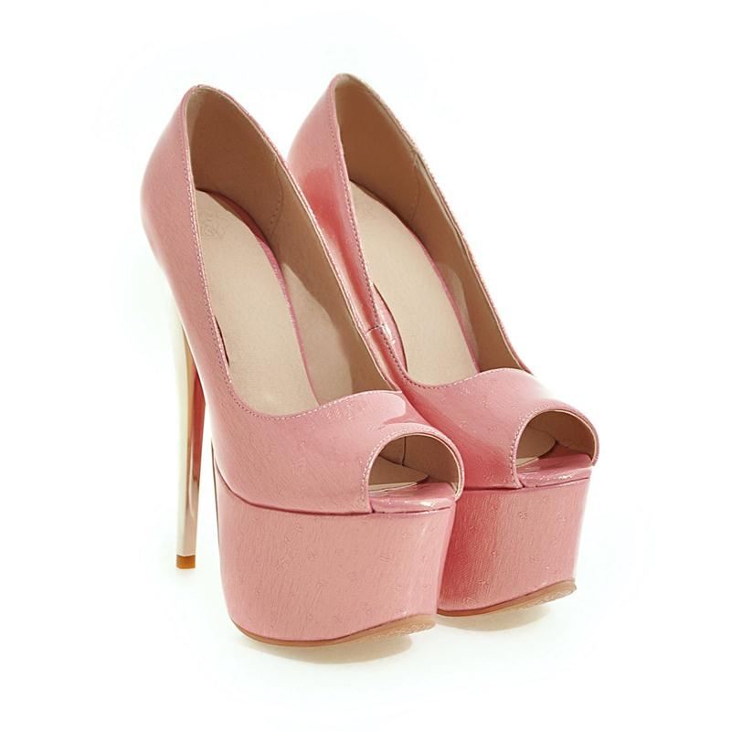 Große schwarzes Frauen Plattform Cm Mode Toe Pumpt Shallow Elegante 48 Peep High Apricot 34 16 Größe Schuhe Heels rosa Hochzeit Solide Memunia Einzelnen x1OwgqAS