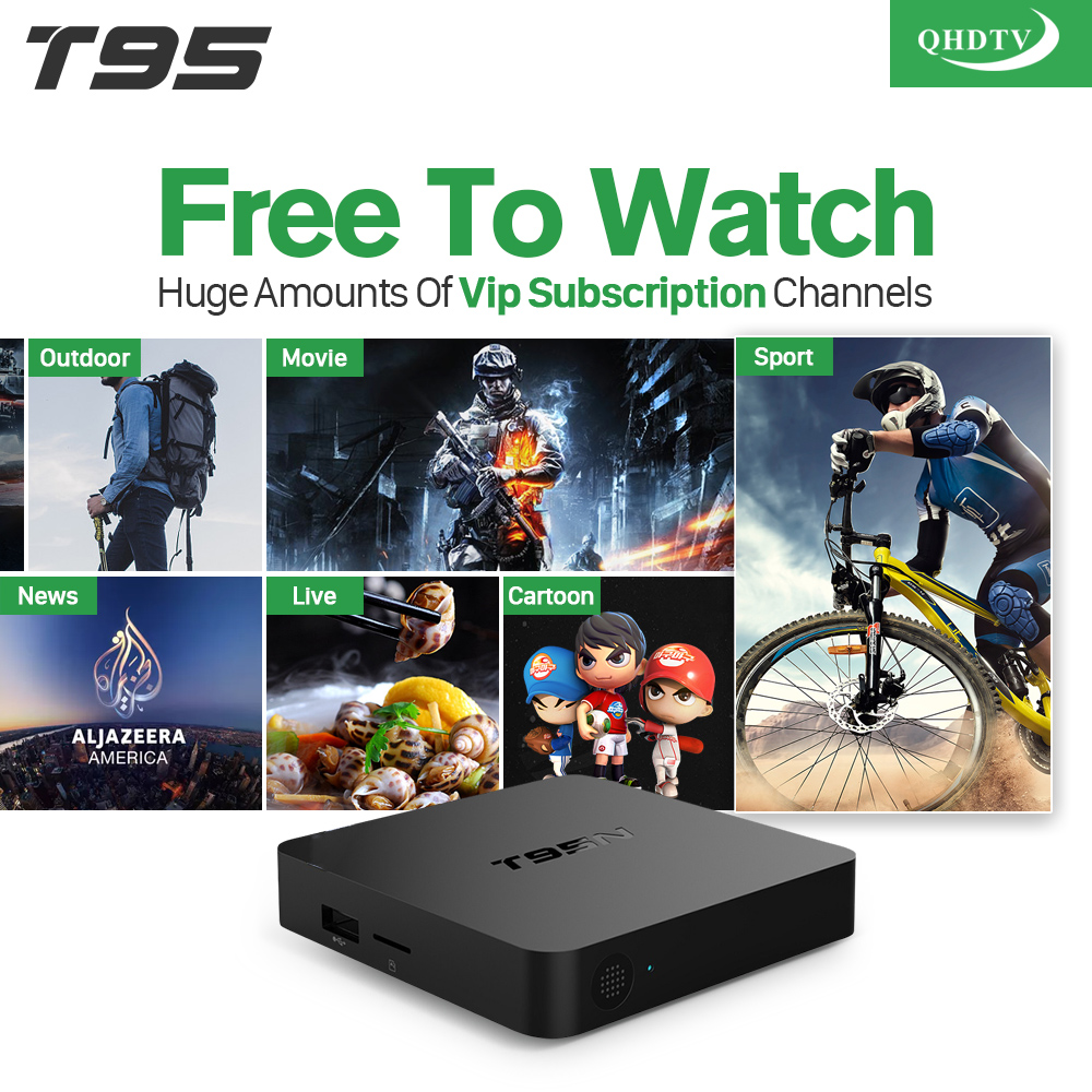 T95N Android Smart IPTV Box 2GB 8GB Amlogic S905X Streaming Media Player + 6 Months IPTV Channels Europe Arabic UK IT DE