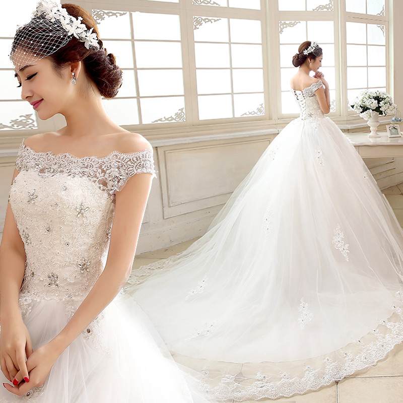 Bride Wedding Gown Dresses One Shoulder The New 2015 Slim Korean Style Slim Size Bandage Tail