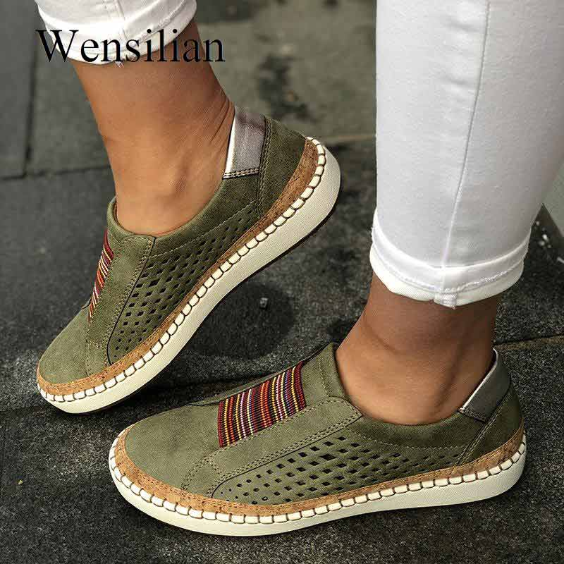 Vintage Flat Shoes Women Ladies Sneakers Slip-on Loafers Women's Hollow Casual Shoes Tenis Feminino Vulcanized Zapatos De Mujer
