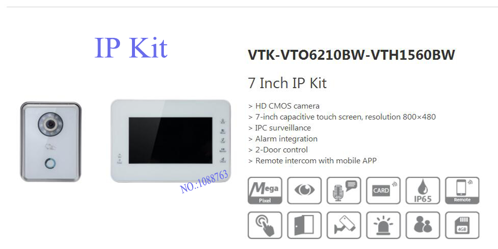 Free Shipping DAHUA Video Intercom Alarm integration 7 Inch IP Kit Support Mobile Phone Without Logo VTK-VTO6210BW-VTH1560BW