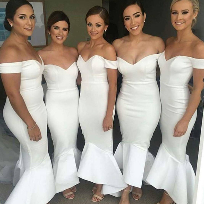 Cheap White Mermaid   Bridesmaid     Dresses   Long 2019 robe demoiselle d'honneur Off The Shoulder   Dress   For Wedding Party