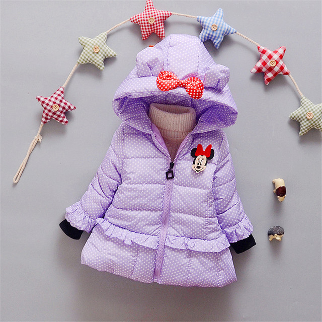 Cartoon minnie Girl Hooded warm parkas winte Girls Windbreaker Baby  thick Jacket Kids Clothes Children Clothing mtn736