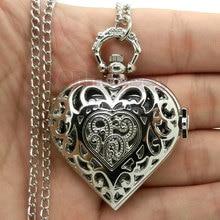 Серебряные полые Кварцевые в форме сердца карманные часы ожерелье стимпанк часы кулон женский подарок P72