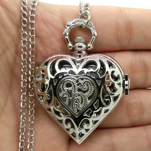 Silver Hollow Quartz Heart-shaped Pocket Watch Necklace Steampunk Hour Pendant W