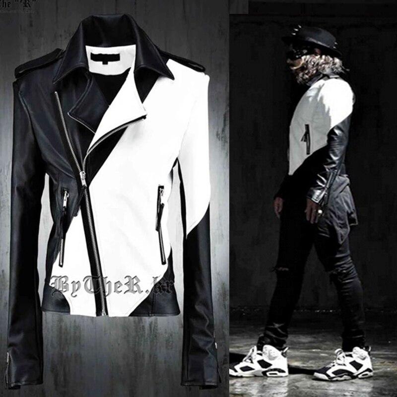 2018 Newest Avant Garde Edge Designer Mens Motorcycle Biker Faux Leather Side Zipper Top Coat Jacket For Mens Clothing