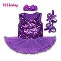 3 unids nueva ropa del bebé establece ropa de los niños tutú de las muchachas del mameluco dress + venda + zapatos de bebé primer cumpleaños disfraces z311