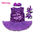 3pcs New Baby Girl Clothing Sets Children Clothing Girls Tutu Romper Dress+Headband+Shoes Baby First Birthday Costumes Z311