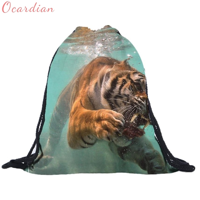 2017 Unisex Tiger Backpacks 3D Printing Bags Drawstring Backpack Oct27