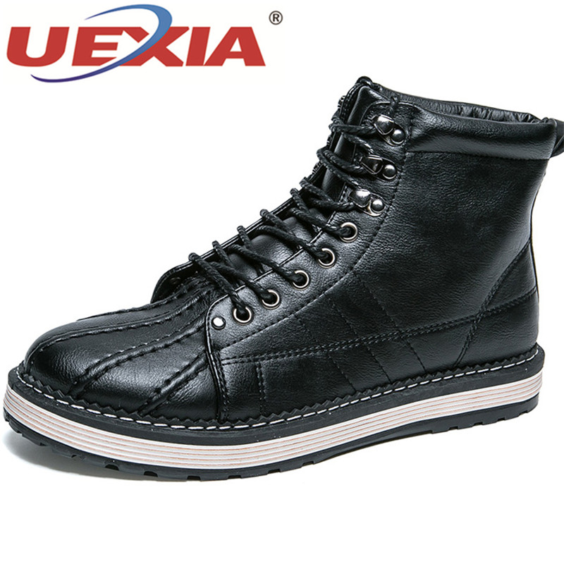 UEXIA Leather Men Boots Autumn Winter Ankle Boots Fashion Footwear Lace Up Shoes Men High Quality Vintage Men Shoes genuine leather men boots autumn winter ankle boots fashion footwear lace up shoes men high quality vintage men shoes qy5
