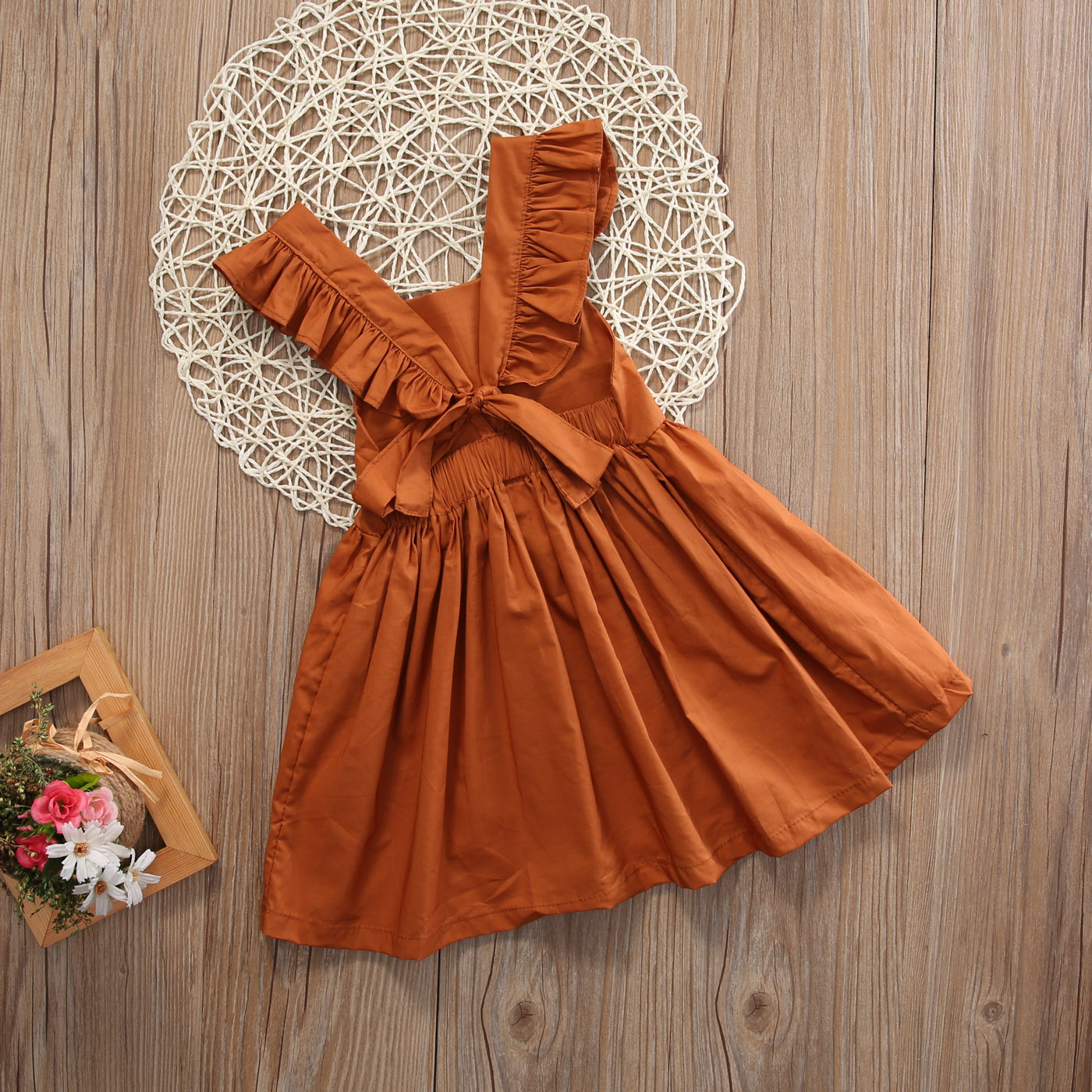 Baby Girls Clothes Summer Infant Solid Color Brown Wedding Party