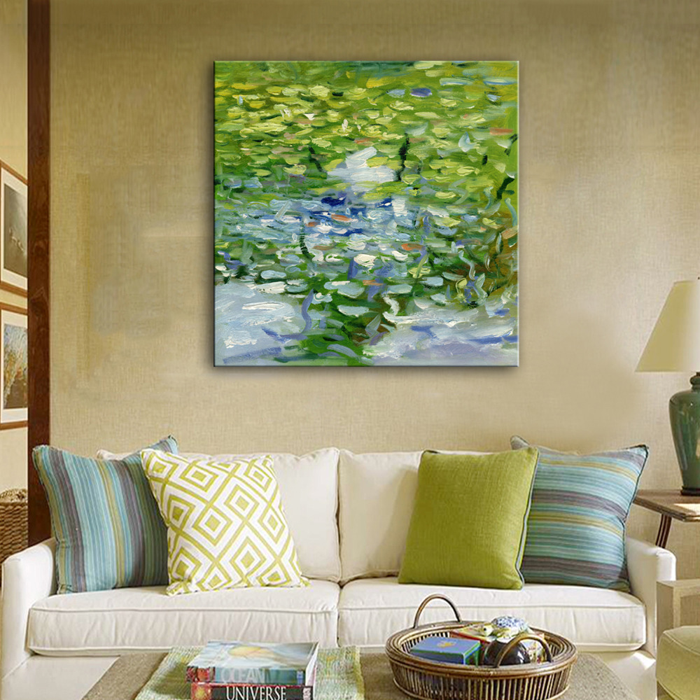 Free Shipping Hand Painting Oil Painting Pond Lotus Decoration Painting One Pcs Home Decor Modern Wall Prints