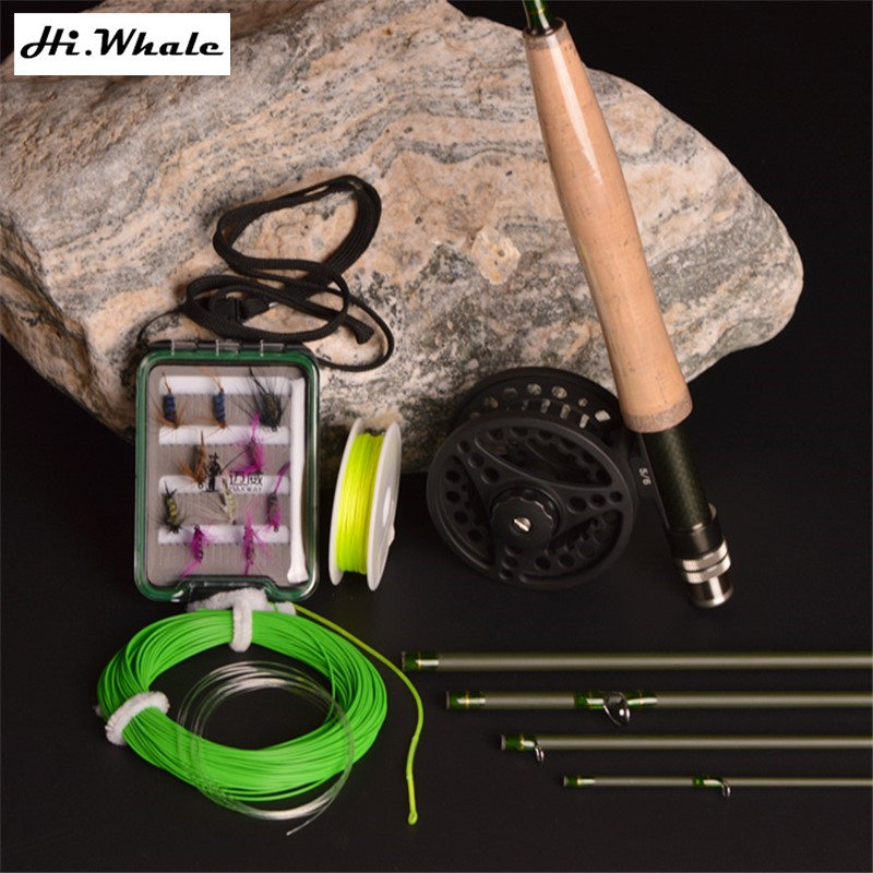 New Carbon Fly Fishing combo Set 2.7 m 5 section fly rod line wt 5/6 # fishing rod fishing supplies new high carbon 2 7 m line wt 5 6 5 section fly fishing rod combo set fly rod fly reel fly line hook fishing tackle fishing rod