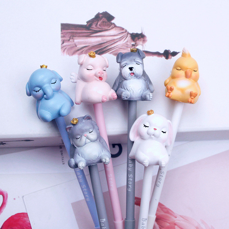 1pc Cute Cat Gel Pens Creative Silicone Neutral Pens 0.5mm Kawaii Pink Pens For Girls Writing School Novelty Supplies Stationery