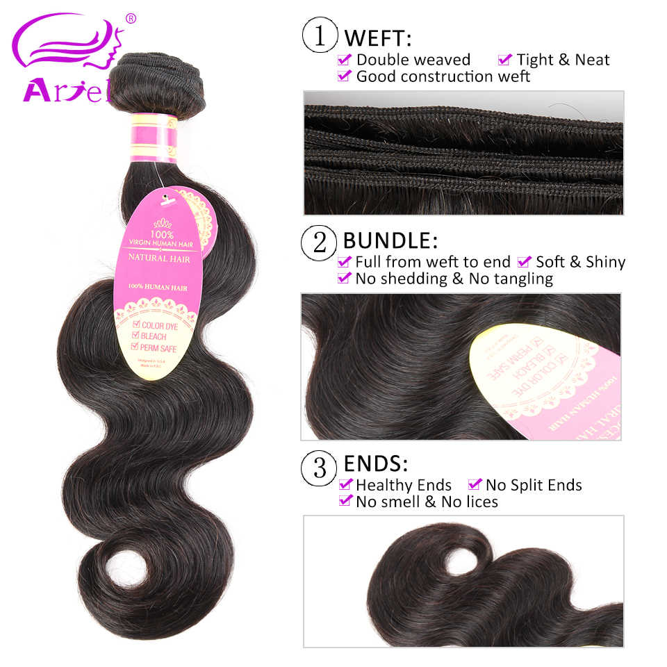 Body Wave Bundles With Closure 4*4 Brazilian Hair Weave Bundles With Frontal Non Remy Human Hair 4 Bundles With Closure Ariel