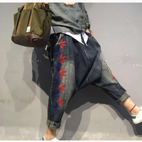 Women S Pants Denim Hiphop Lower Cross Pants Embroidery Red Leaves Jeans Crotch Pants Loose Casual
