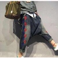 Damskie Spodnie Jeansowe Hiphop Niższe spodnie Krzyżowe Haft Czerwone Liście Jeans Spodnie Krocza Luźne Haren Spodnie Na Co Dzień Spodnie 80709