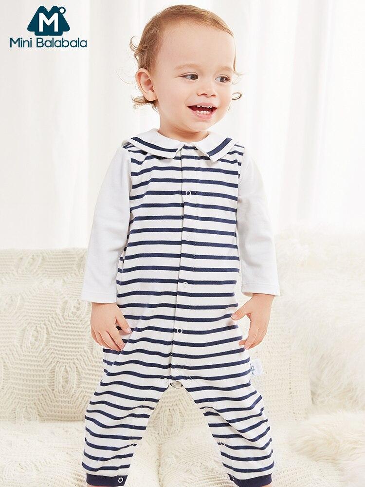 Mini Balabala bébé 3 pièces rayure combinaison + col marin Cardigan + chapeau ensemble nouveau-né infantile bébé filles garçons vêtements 3 pièces/ensemble
