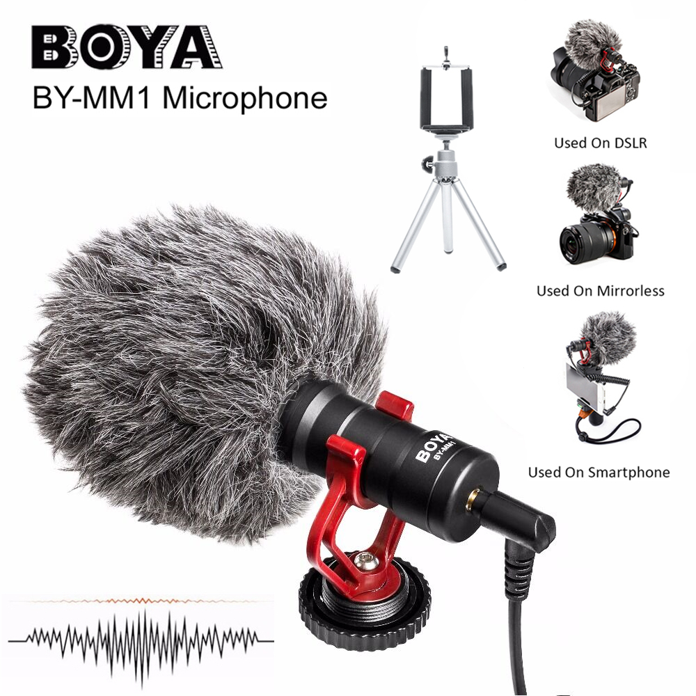 BOYA BY MM1 Video Record Microphone Compact VS Rode VideoMicro On Camera Recording Mic for iPhone