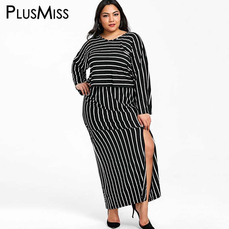 cf5407b4194 PlusMiss Plus Size Striped Women Clothing Two Piece Set Long Sleeve Top  Split Maxi Long Skirt