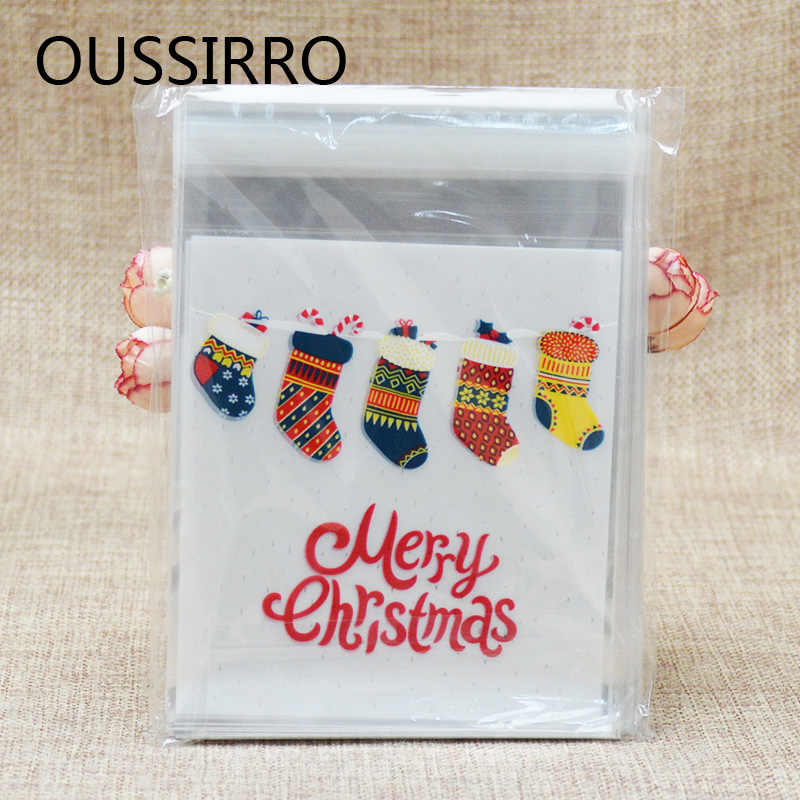 2018 50pcs Colorful Christmas Socks Plastic Cookies Packaging Bags Xmas Self Adhesive Gift Bag Candy Biscuit Pouch Party Decor