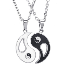 Jewelry 2 Friendship chains Tai Chi Yin and Yang Stainless steel pendant with 45cm and 55cm chain, Women's ,Men's Necklace