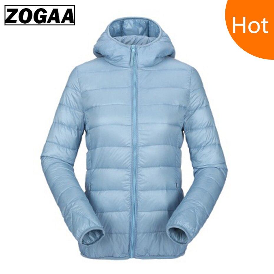 Zogaa Women Ultra Light   Down   Jacket Hooded Winter   Coat   Duck   Down   Jackets Casual Slim Fit Long Sleeve Womens Parka Zipper   Coats