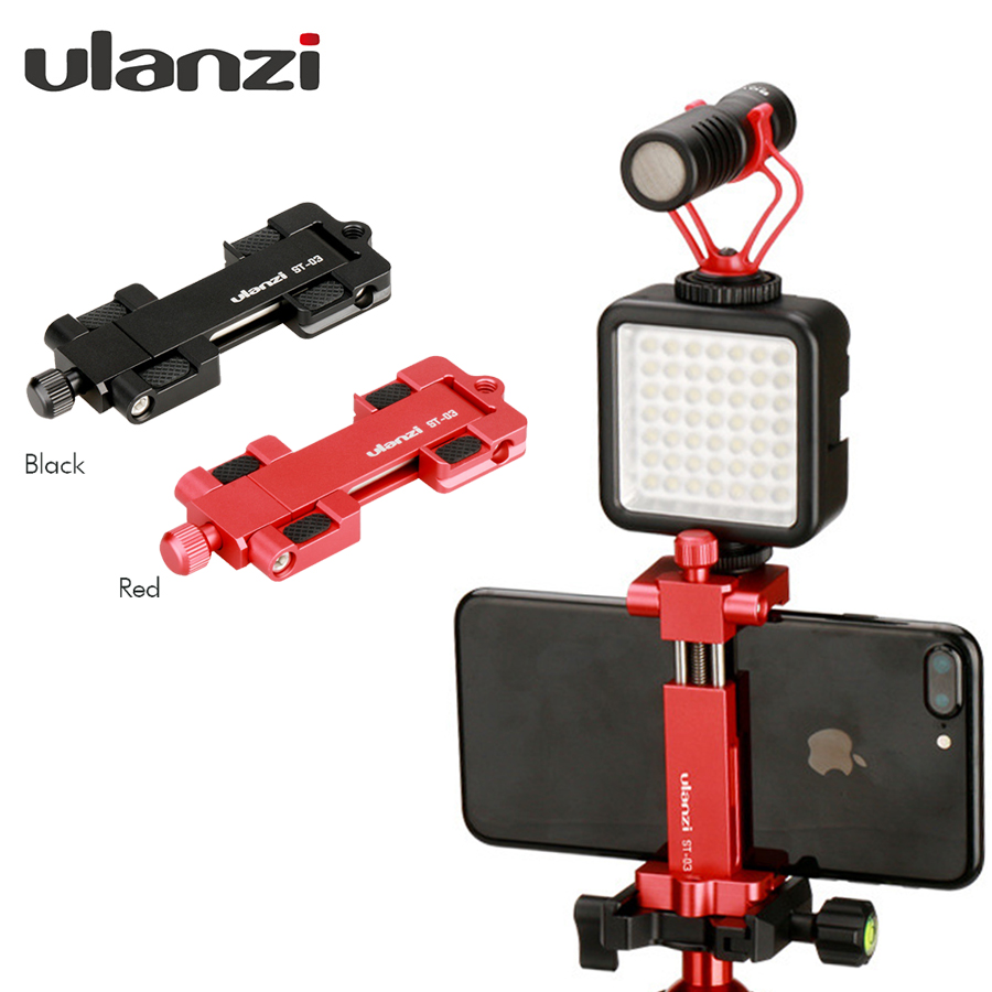 ulanz Smartphone Tripod Mount - Ulanzi IRON MAN Aluminum Metal Universal Smart Phone Tripod Adapter Holder Clip for iPhone 8 tripod mount cell phone clipper vertical bracket smartphone clip holder 360 adapter for iphone new arrival
