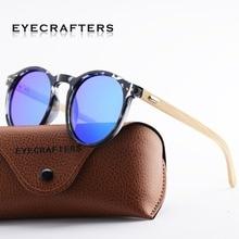 Eyecrafters Natural Bamboo Sunglases Polarized Mens Womens Vintage Retro Handmade Wood Sunglasses Round Eyewear Shades