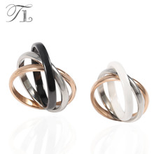 TL Elegant Fashion Ceramic Rings Lady Accessories Style Three Color Sex Zircon Cross Ring 316 L Stainless Steel Wedding sex ring