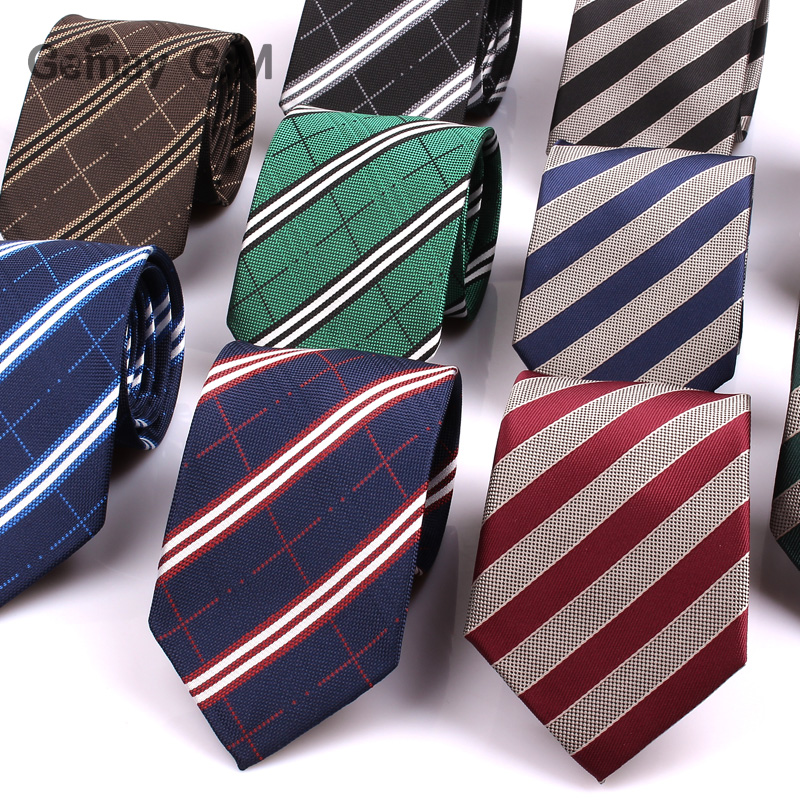 Striped Neck Ties For Mens 7cm Wide Neckties For Men Wedding Suits Polyester Silk Gravatas Business Corbatas Plaid Men Ties